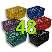 Pallet of 48 Color Rectangular Milk Crates