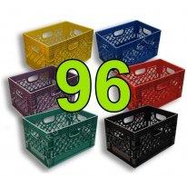 Pallet of 96 Color Rectangular Milk Crates