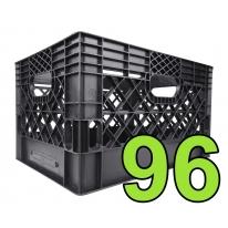 Pallet of 96 Black Rectangular Milk Crates