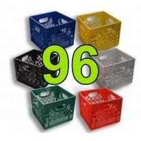 Pallet of 96 Color Square Milk Crates