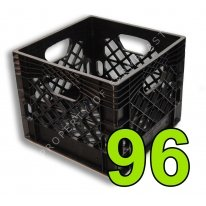 Pallet of 96 Black Square Milk Crates