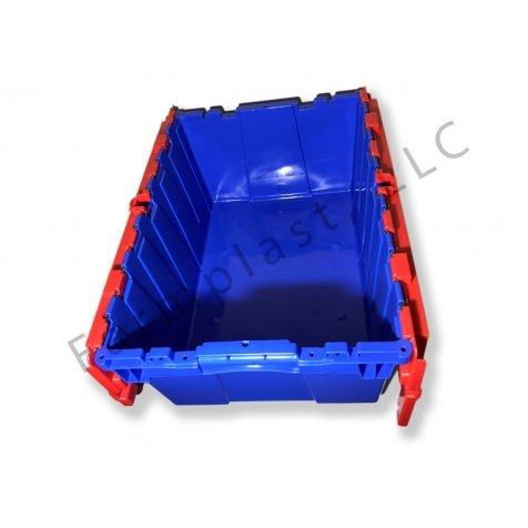 Pallet of 60 Heavy-Duty Plastic Totes w. Attached Lid