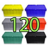 Pallet of 120 Heavy-Duty Plastic Totes