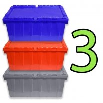Set of 3 Heavy-Duty Plastic Totes