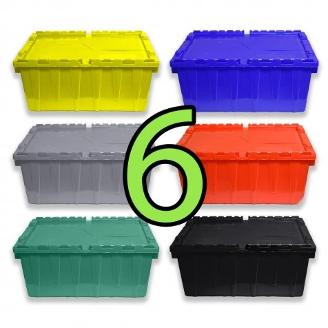 Set of 6 Heavy-Duty Plastic Totes w. Attached Lid