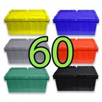 Pallet of 60 Heavy-Duty Plastic Totes