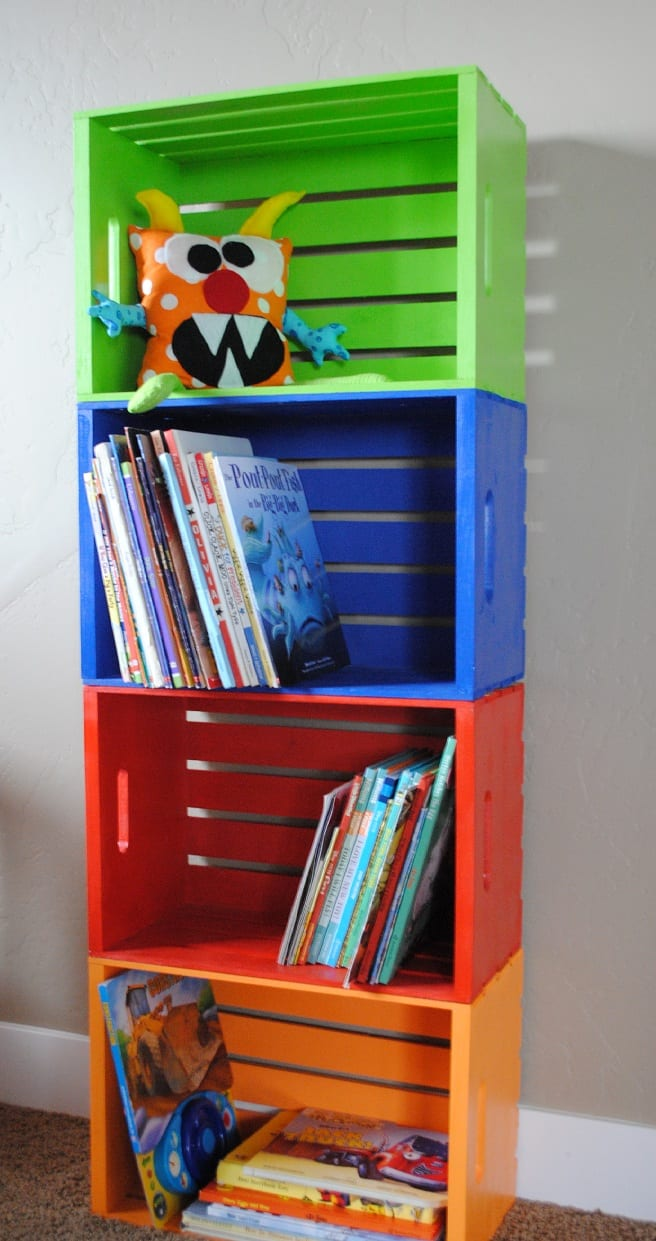 Beautiful bookcase made of milk crates