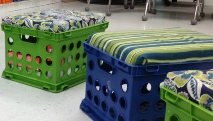 Cushions made of milk crates