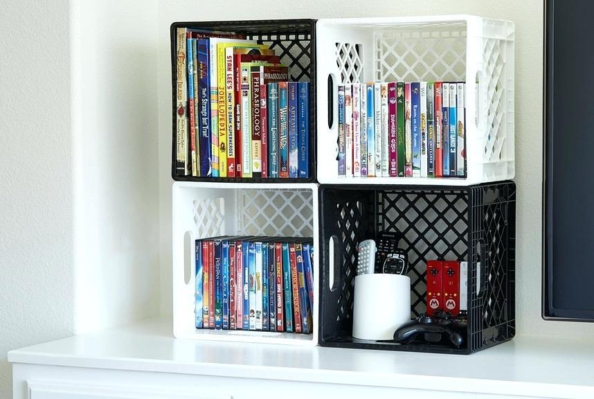 Colorful Plastic Crate Bookshelf